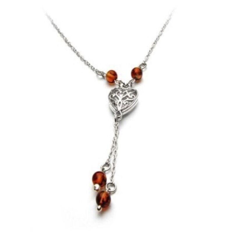 Norina szív borostyán nyaklánc ezüstből