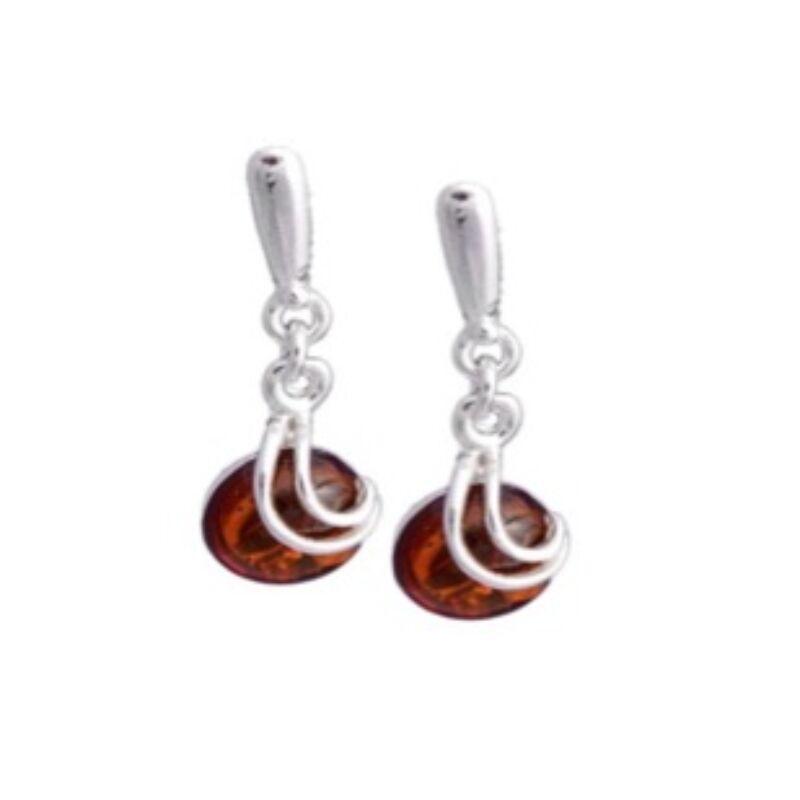 Teodóra - ezüst fülbevaló kerek konyak borostyánnal és félhol ezüst díszítéssel