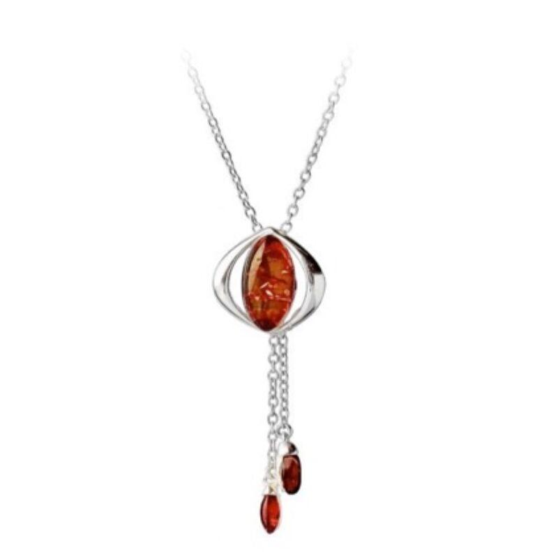Macskaszem - ezüst borostyán nyaklánc Gyűrűk ura érzéssel