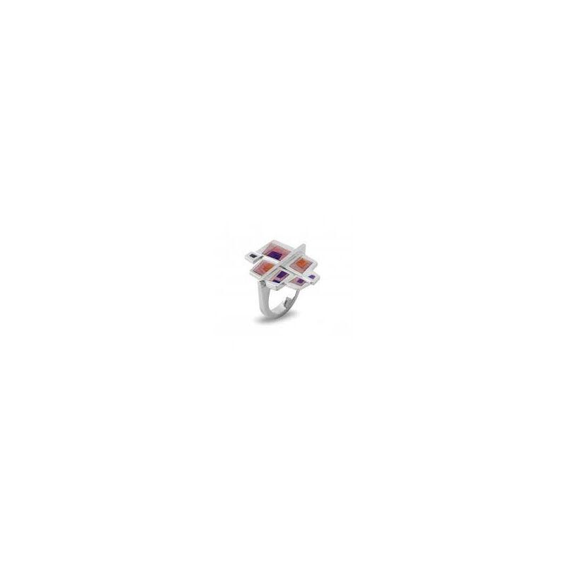 Atelo rózsaszín lila tűzzománc ezüst gyűrű