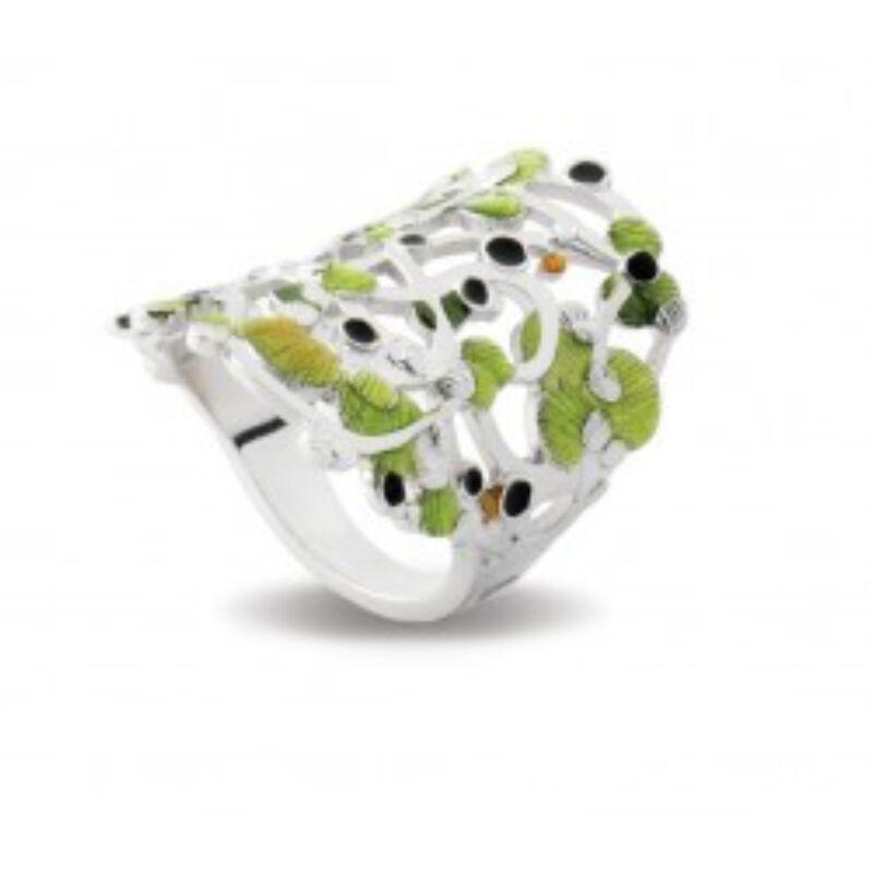 Calicaos csipke zöld tűzzománc ezüst gyűrű
