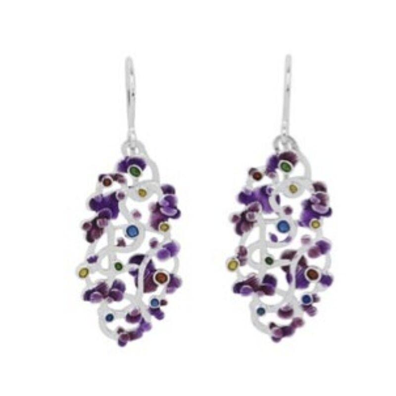 Calicaos csipke lila tűzzománccal díszített ezüst fülbevaló