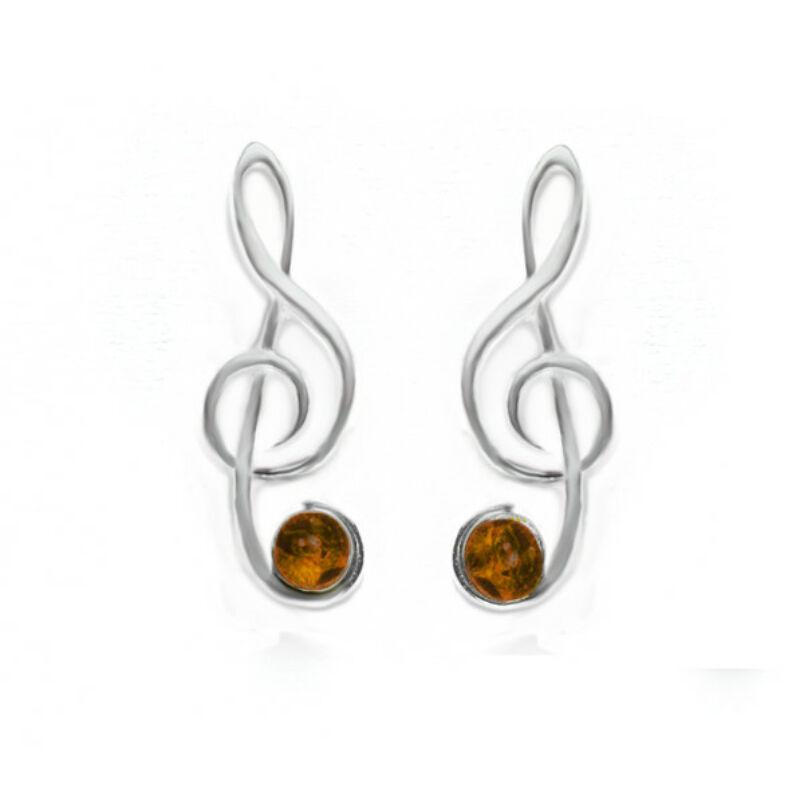 Violinkulcs fülbevaló konyak borostyánnal díszítve