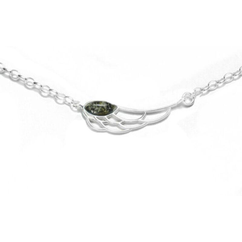 Angyalszárny nyaklánc zöld borostyánnal díszítve