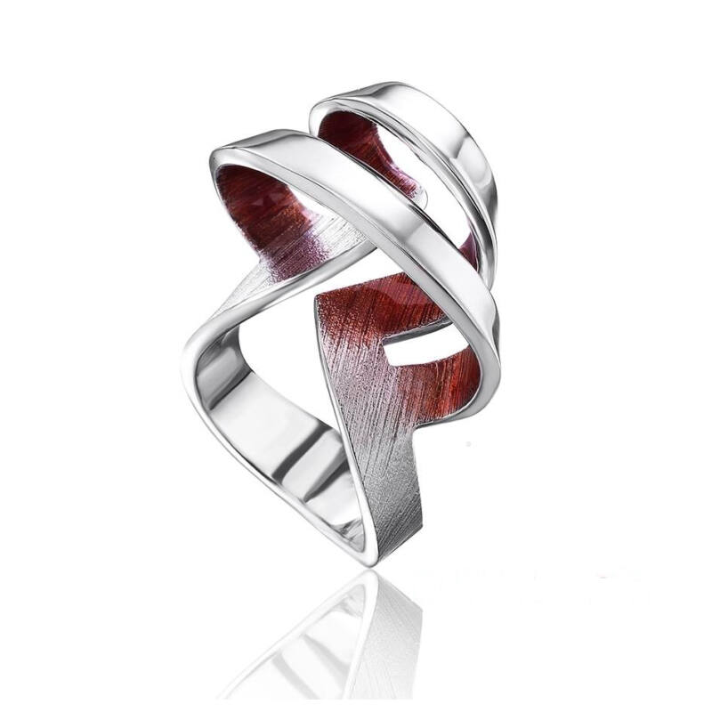 Biteno bordó tűzzománc ezüst gyűrű