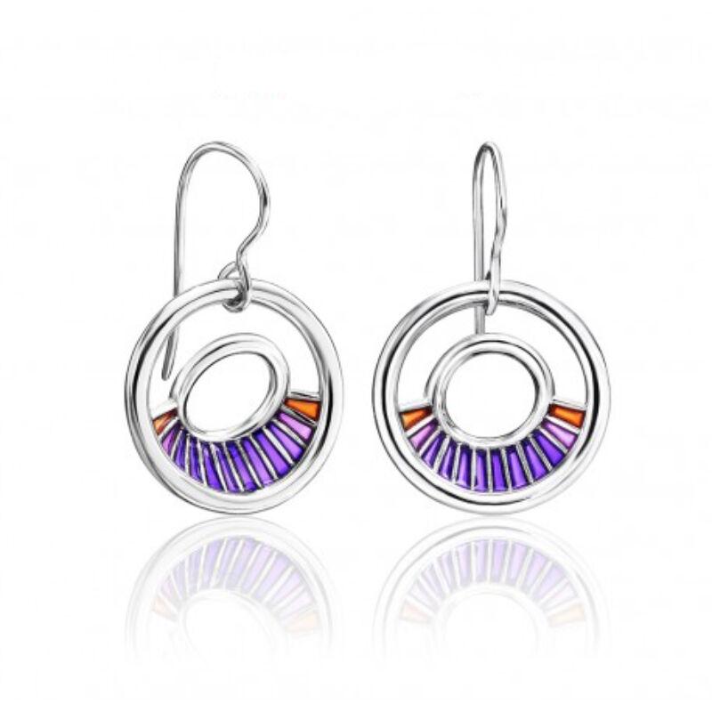 Equinox lila tűzzománc ezüst fülbevaló