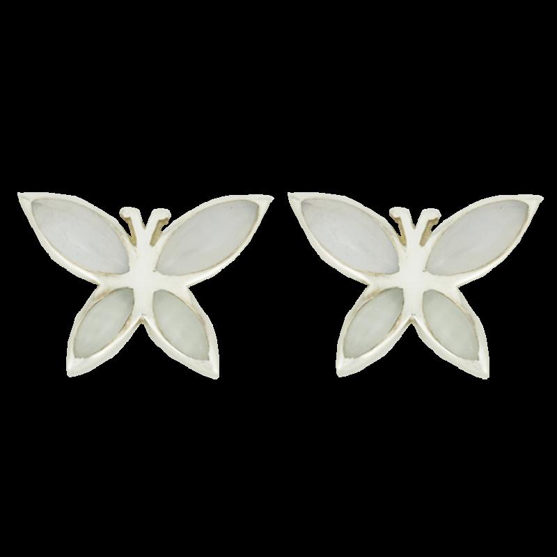Ezüst pillangó kalcedonnal