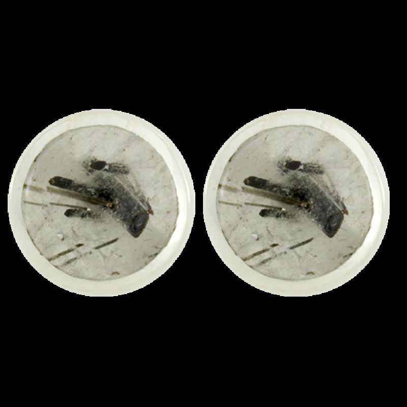 Ezüst fülbevaló kerek rutillal