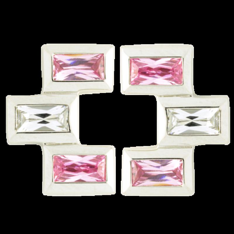 Ezüst fülbevaló pink cirkóniával