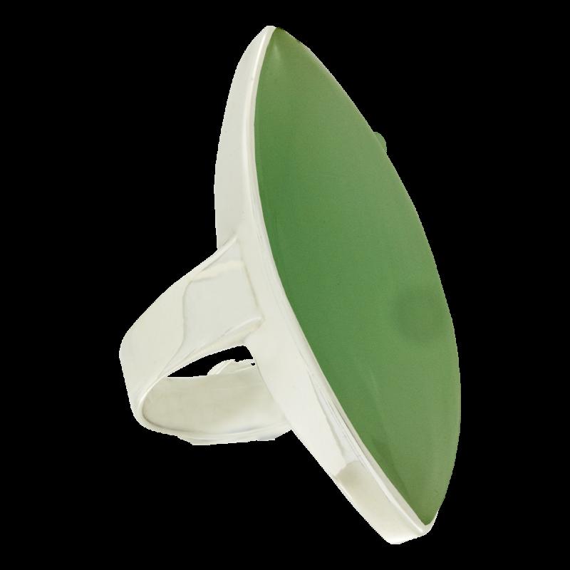 Ezüst gyűrű zöld kalcedonnal