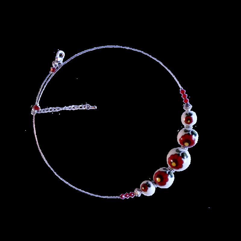 Piros kalocsai porcelán nyaklánc
