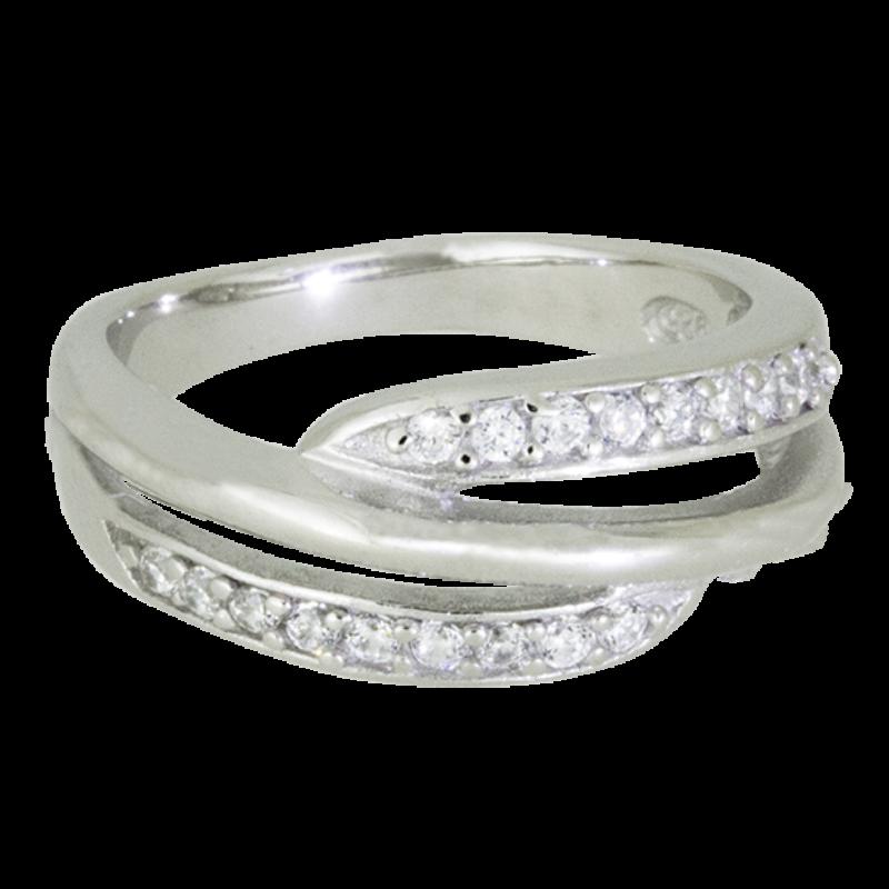 Ródiumozott Ezüst Gyűrű Duplasoros Cirkóniával