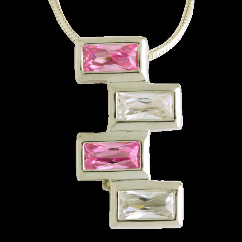 Ezüst medál pink cirkóniával