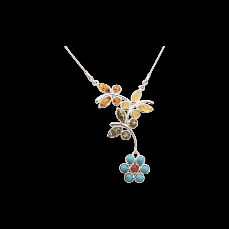 Türkiz virág borostyán nyaklánc