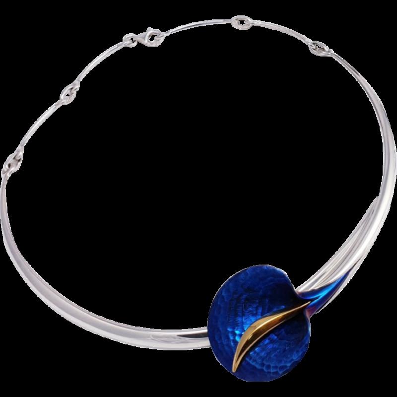 Kék titánium collier (nagy) – AN