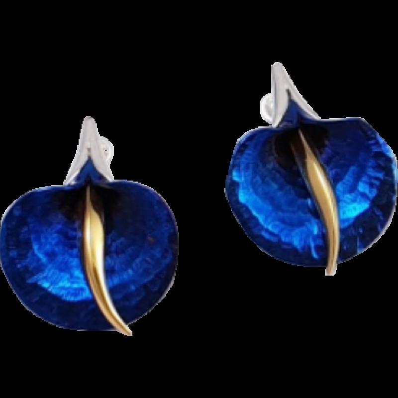 Kék titánium fülbevaló (nagy) -AE