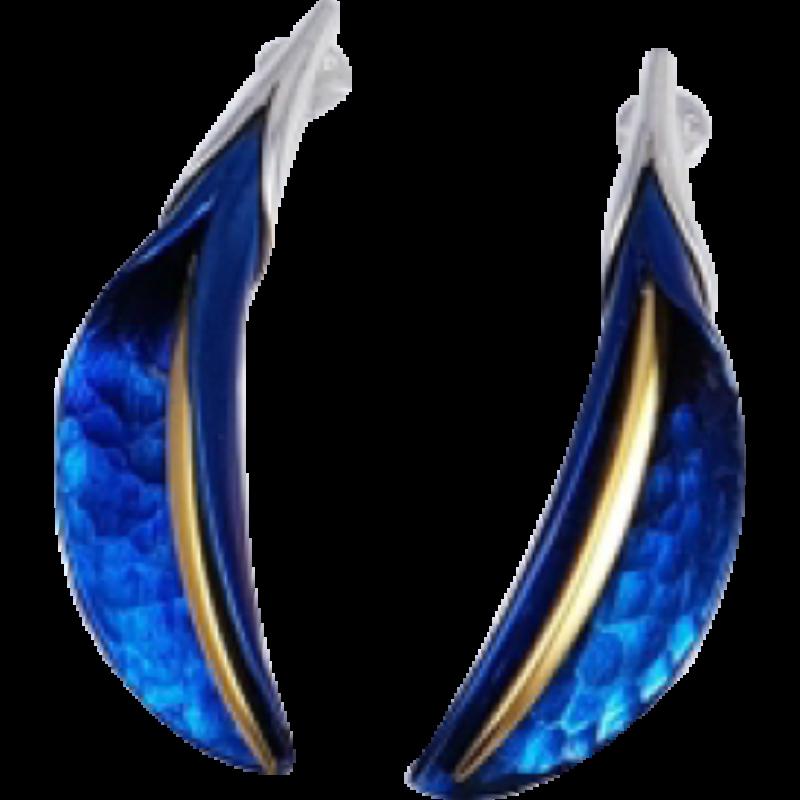 Kék titánium fülbevaló (nagy) -EE